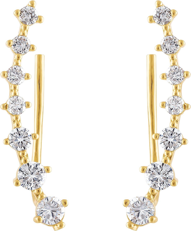KISPER 18K Gold Plated Cubic Zirconia Ear Crawler Climber Earrings