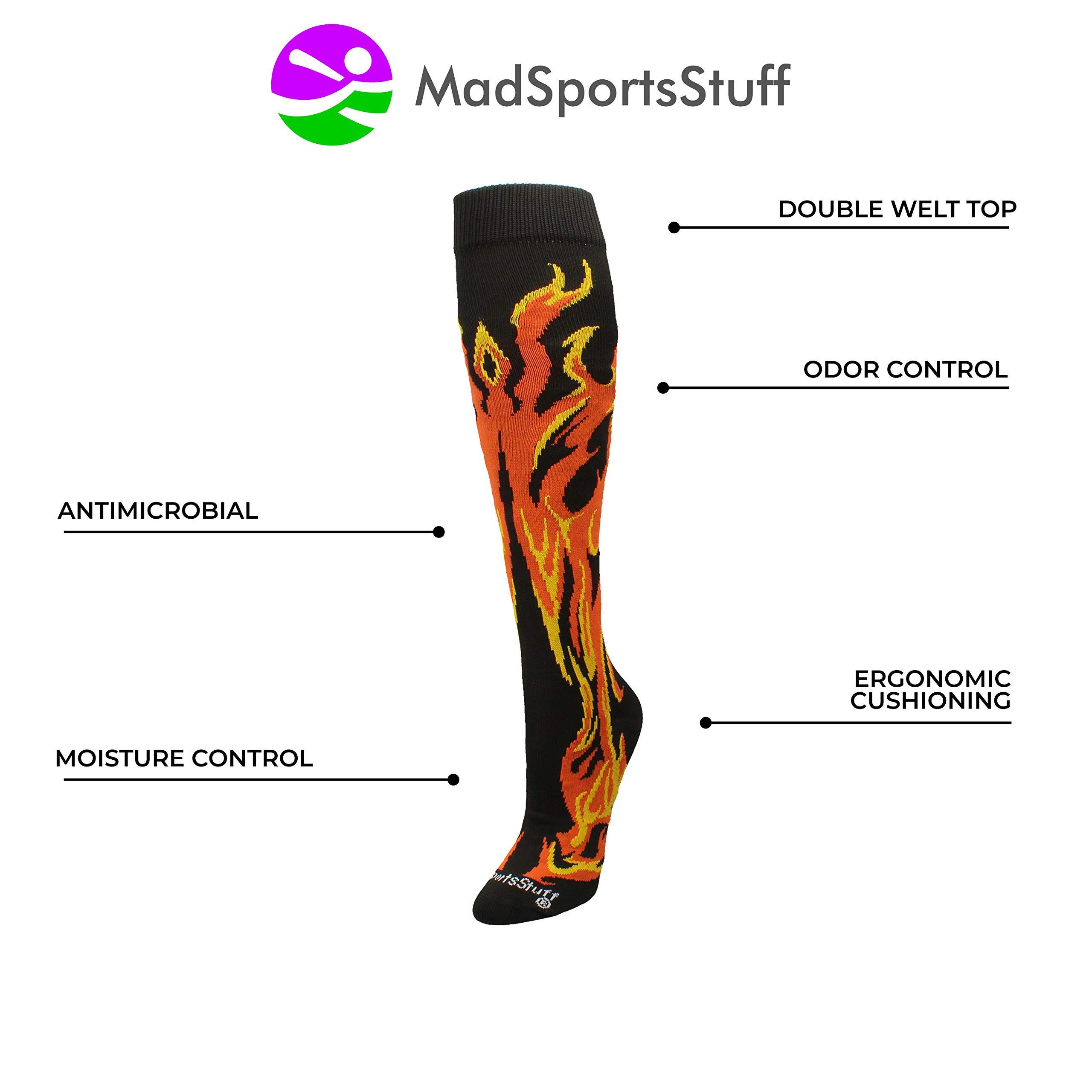 MadSportsStuff Flame Socks Athletic Over The Calf Socks (Black/Orange/Gold, Large) by MadSportsStuff (Image #3)