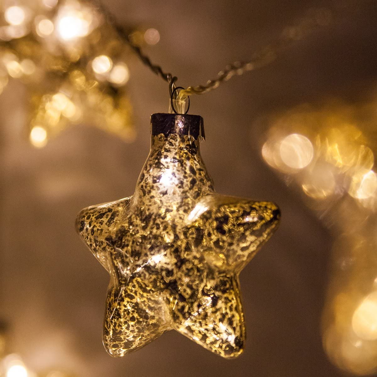 6 Mercury Glass Gold Star Lights Gold Glass Pinecone String Lights Wedding Decorations for Party, LED Lights String, Battery Operated, 10 Warm White LED Lights on Clear Wire 10 Star Lights