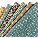 RUSPEPA Reversible Kraft Wrapping Paper Sheet - Navy Geometric Design Kraft Paper - 6 Sheets Packed as 1 roll - 17.5 x…