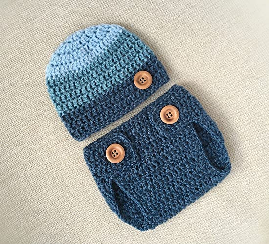 Amazoncom Newborn Boy Photography Outfit Crochet Baby Diaper Cover