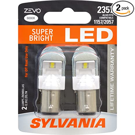 Amazon.com: SYLVANIA - 2357 ZEVO LED White Bulb - Bright LED Bulb, Ideal for Daytime Running Lights (DRL) and Back-Up/Reverse Lights (Contains 2 Bulbs): ...