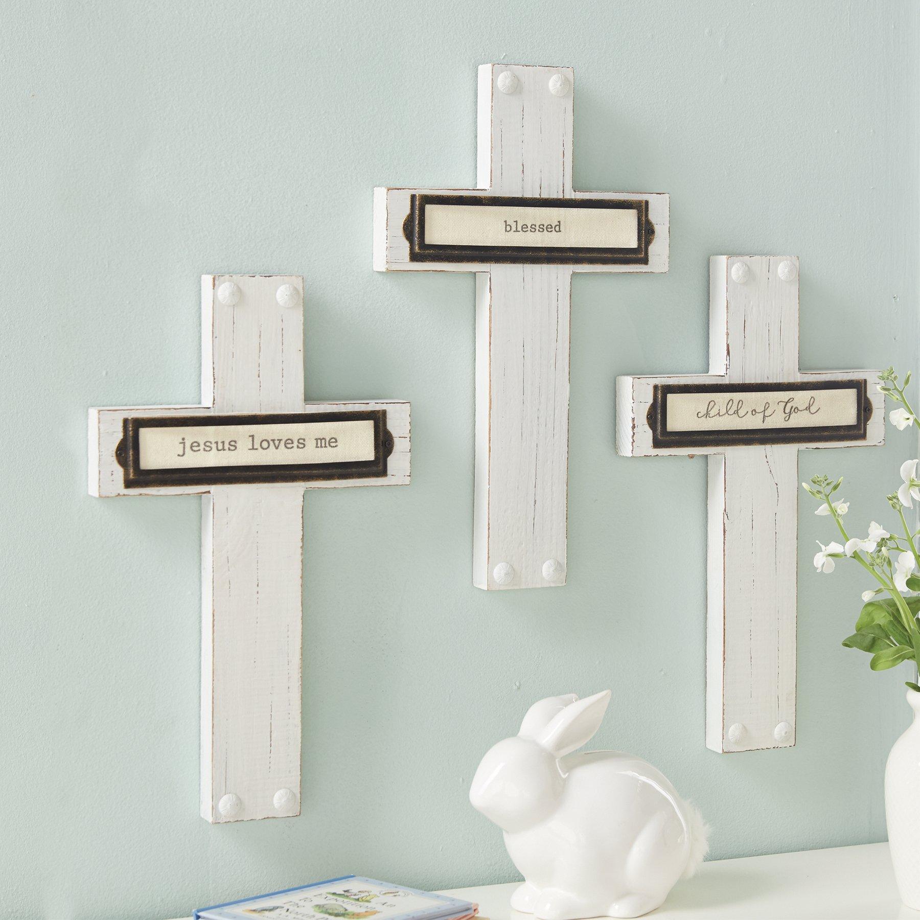 Mud Pie Bookplate Detailing Blessed Pine Wood Cross Wall Art, White