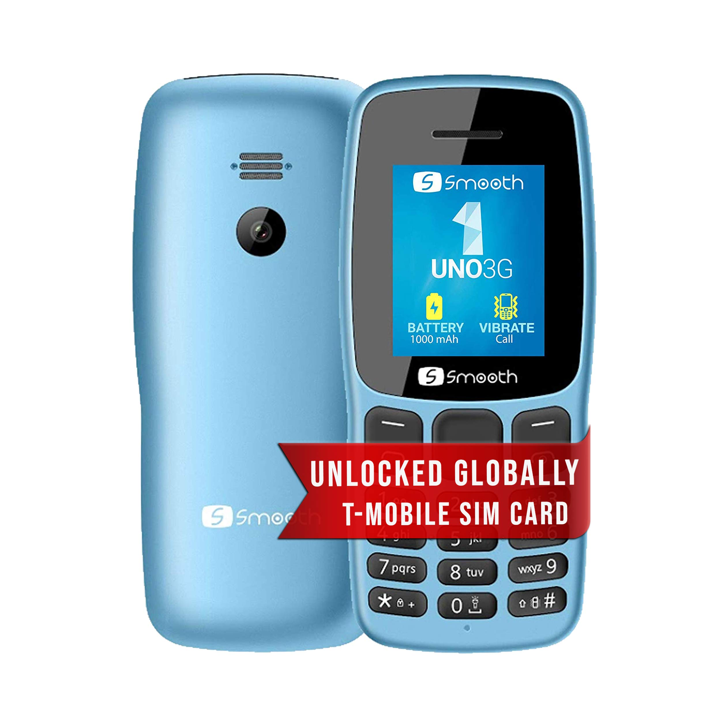 Unlocked 3G Phone -Uno by S Smooth - Celular Desbloqueado - Dual SIM - Includes SIM Card (T-Mobile) - Ready and Easy-to-Use, Compact & Durable - Great for Work, Seniors, Kids, Back-Up (Light Blue)