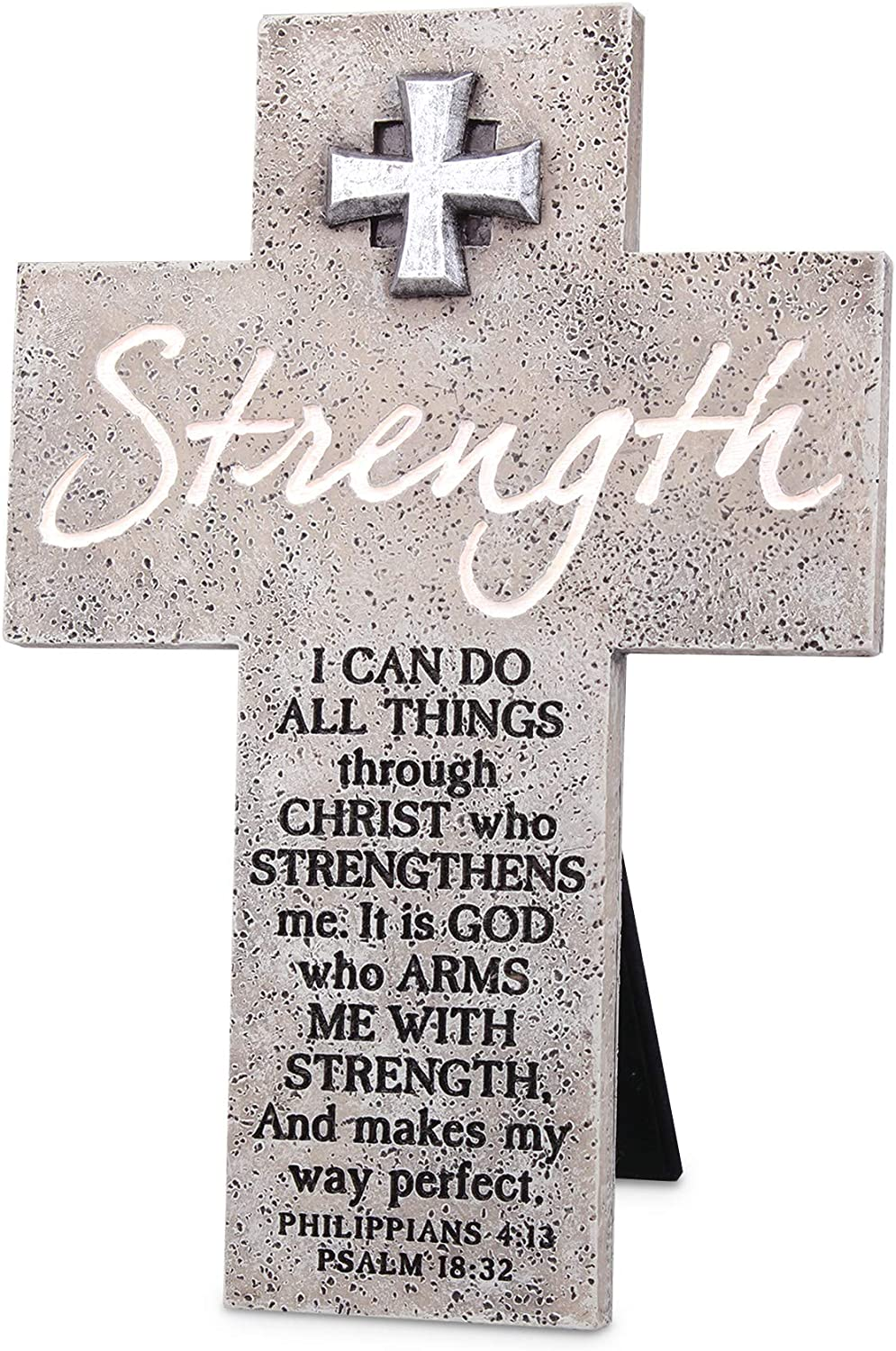 Lighthouse Christian Products Christ Strengthens Marbled Grey 8 Inch Cast Stone Cross Figurine