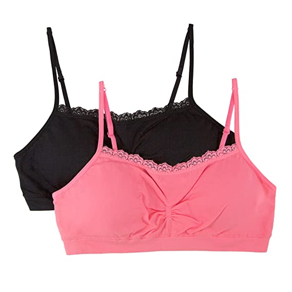 Pack of 2 Fruit of the Loom Big Girls Seamless/ Bralette with Lace