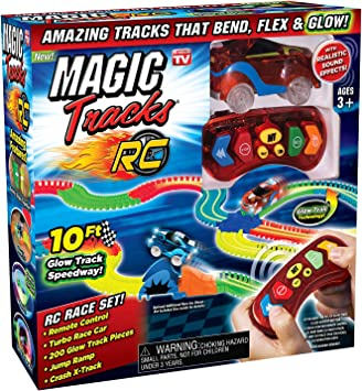 Magic Tracks RC Remote Control Turbo Race Car Glow in the Dark w// 10ft Track NEW