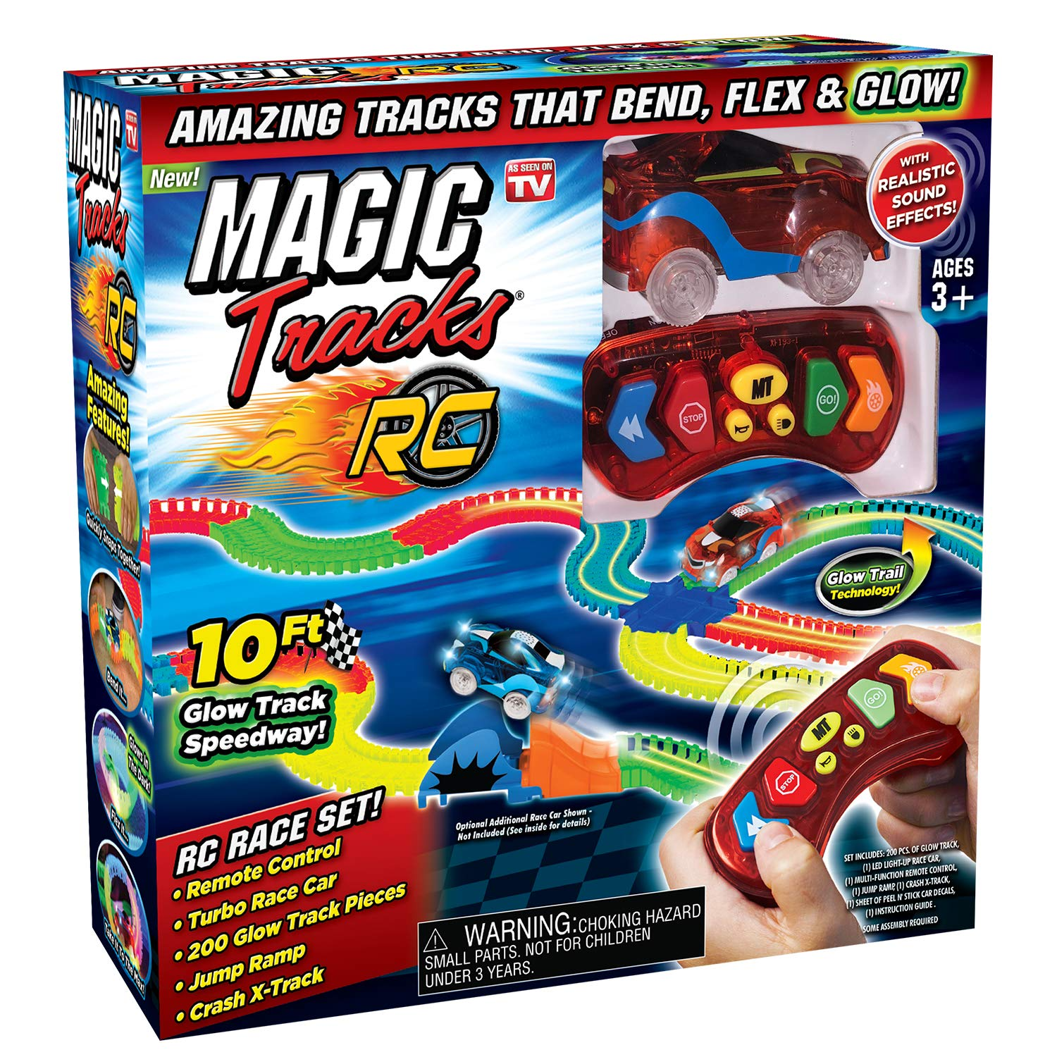 Ontel Magic Tracks RC with Remote Control Turbo Race Cars and 10 ft of Flexible, Bendable Glow in the Dark Racetrack, As Seen on TV by Ontel