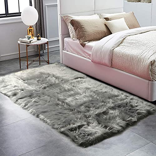HAOCOO Faux Fur Sheepskin Rug Grey Shag Chair Coach Covers Fluffy Wool Area Rug Large Soft Kids Play Mat Rectangle Floor Carpet