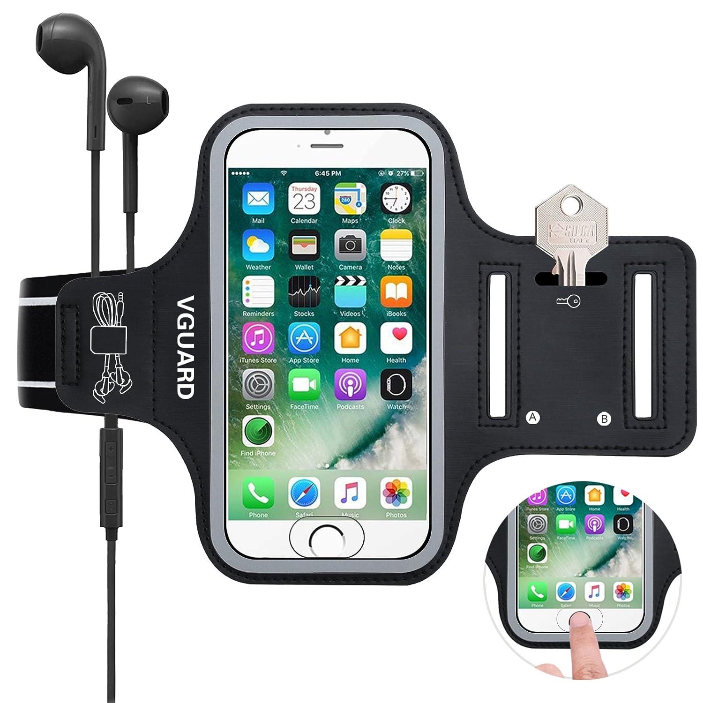 Cables Tarjetas y Banda Reflectante Verde VGUARD Brazalete Deportivo para 5.1 Pulgados Moviles iPhone 8 7 6s 6 Caja del Brazalete Antideslizante para Deportes con Soporte para Llaves