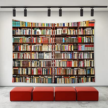 LBKT Library Tapestry Wall Hanging Neat Bookshelf With Books Art Home Decoration Tapestries