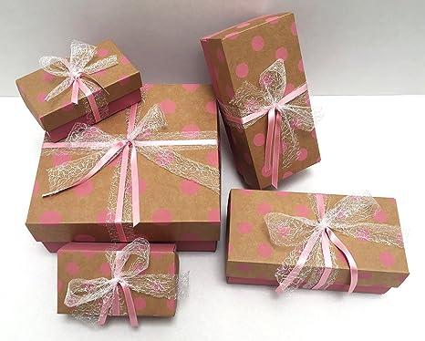 Paquete de regalo caja de regalo, 5, regalo Cajas puntos Incluye cinta para regalo