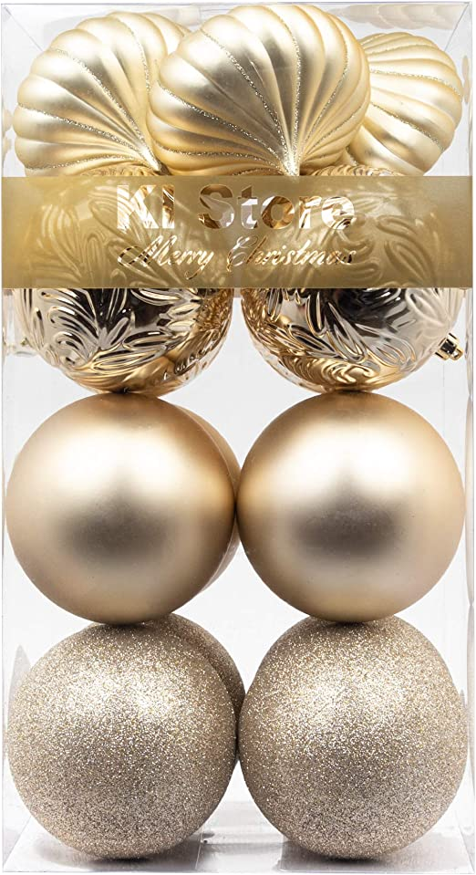 Amazon Com Ki Store Large Christmas Balls Champagne 4 Inch Shatterproof Christmas Tree Ball Ornaments Decorations For Xmas Trees Wedding Party Home Decor Kitchen Dining