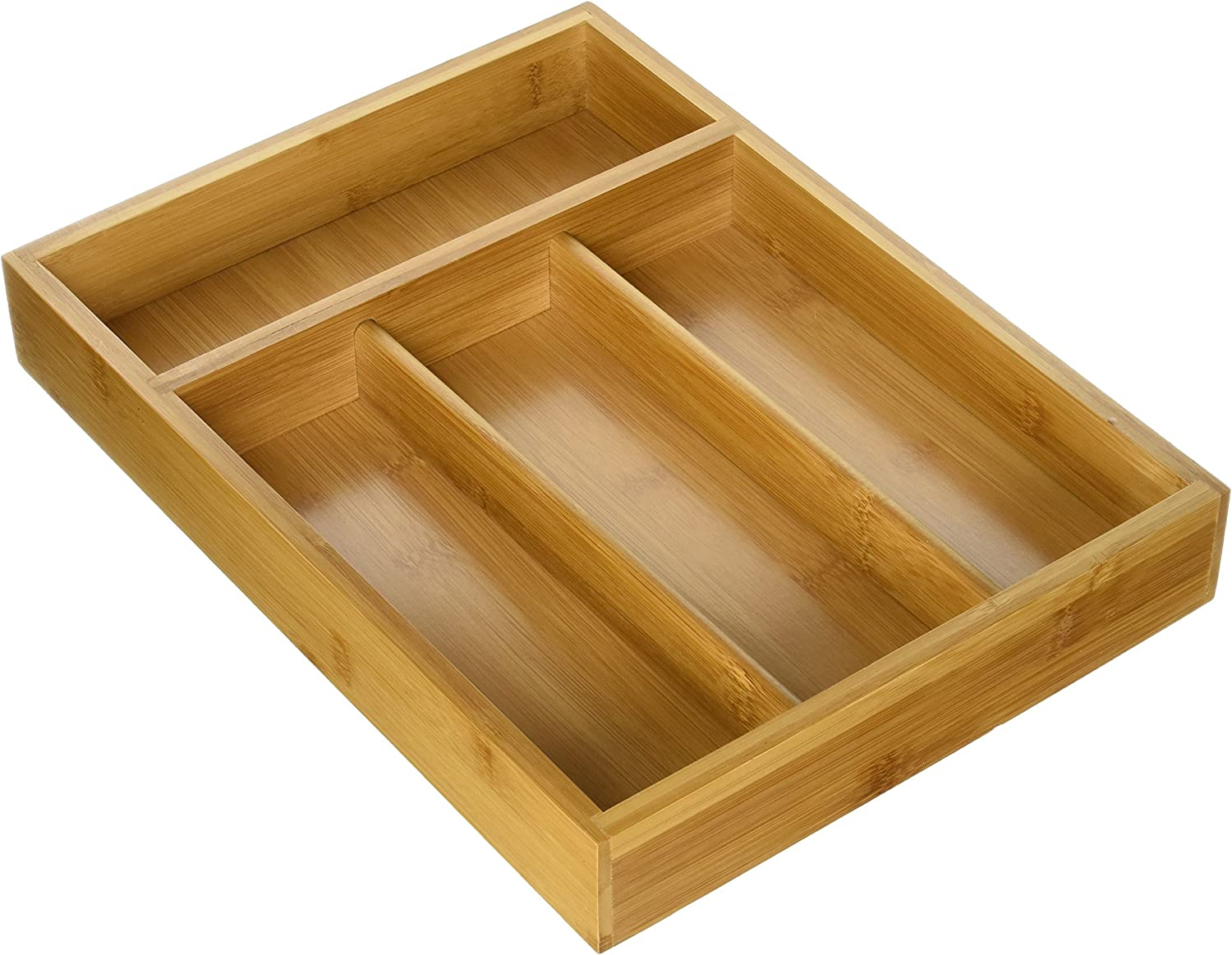 Honey-Can-Do KCH-01078 Bamboo Cutlery Tray, 4-Compartment Tray