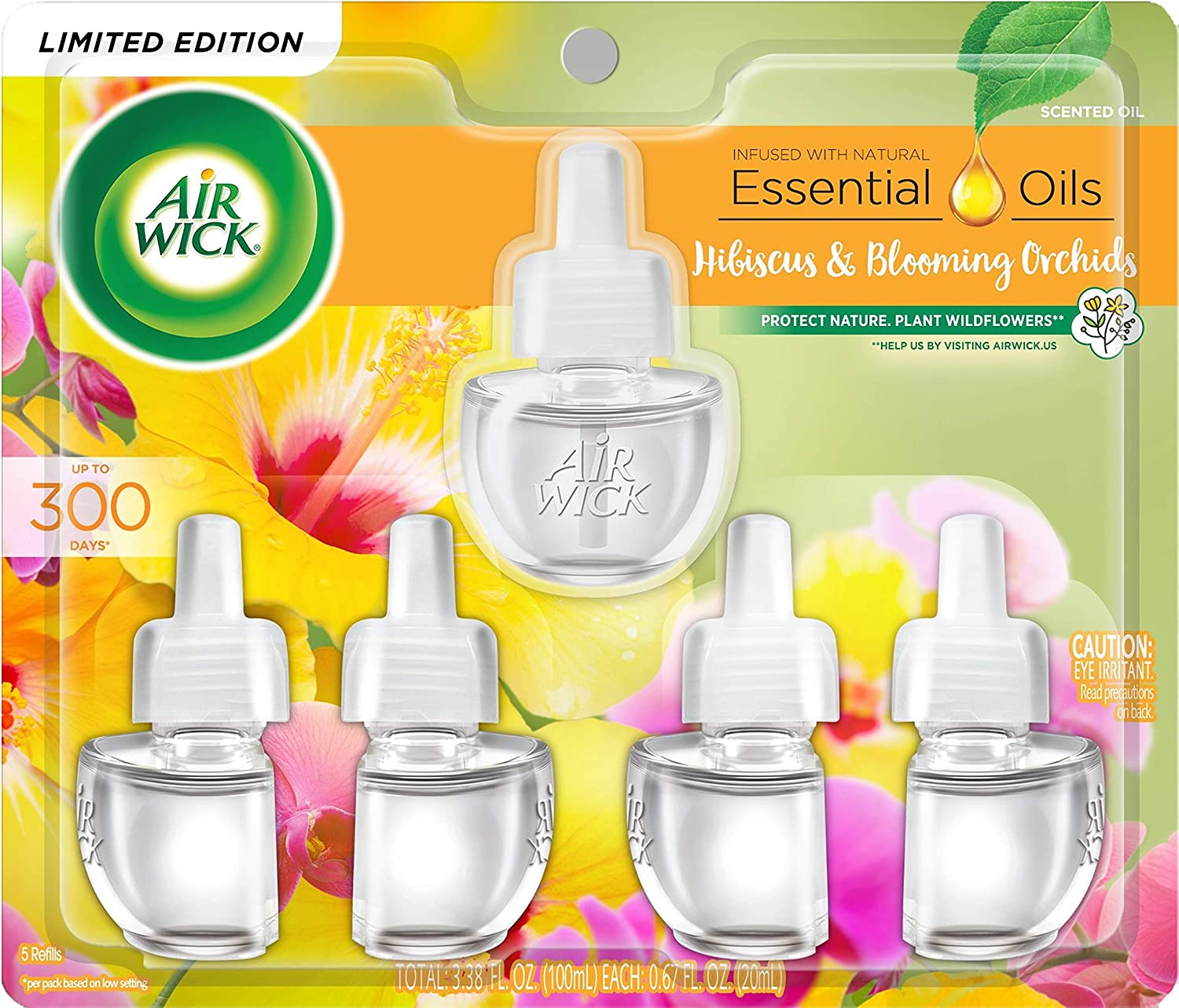 Air Wick Plug in Scented Oil Refill Freshener Essential Oils, Hibiscus and Blooming Orchids, 5 Count