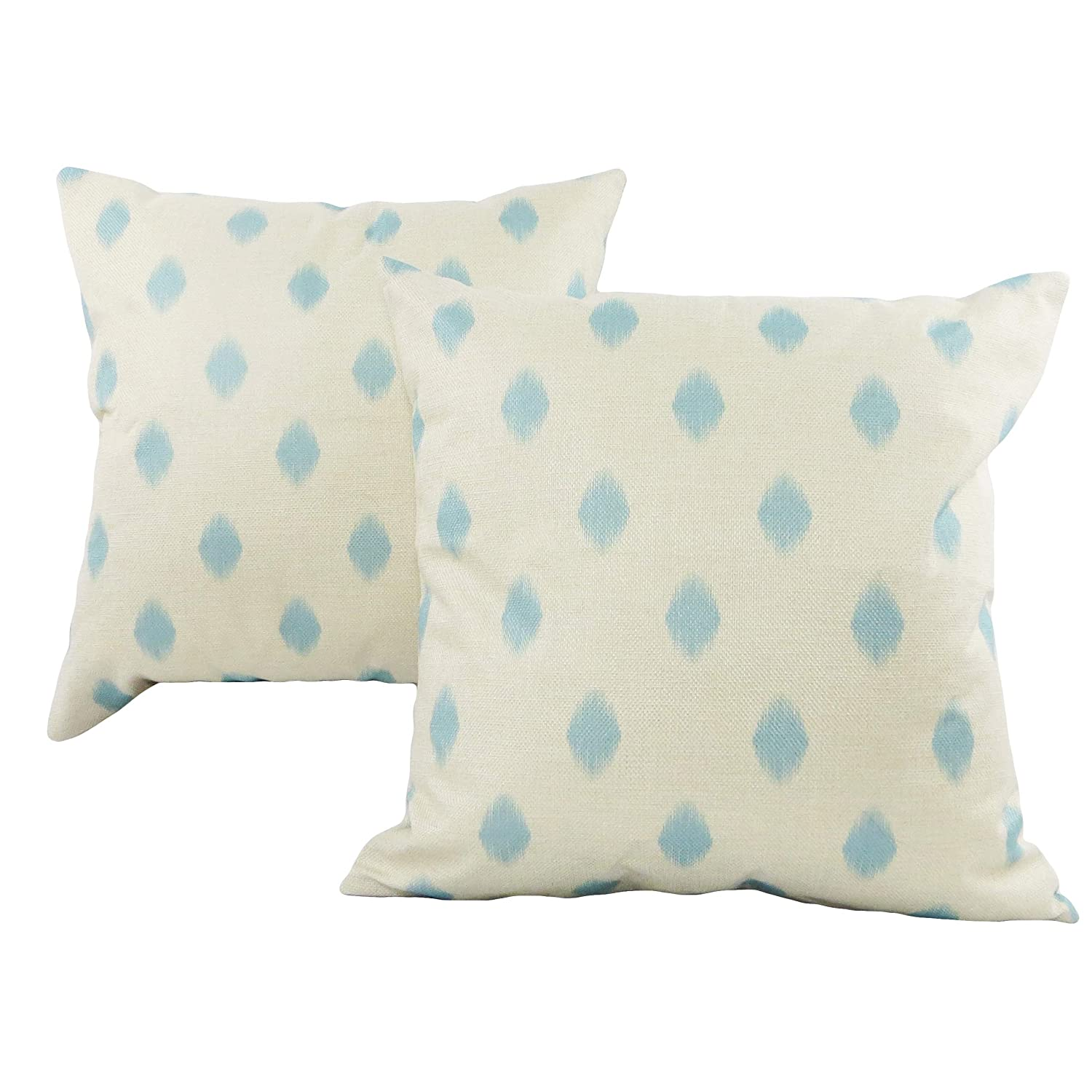 Minimalist Design Set of 2 Decorative Accent Throw Pillow Covers 18x18 in Cushion Cases with Zipper Turquoise Blue and Natural White Ikat Tribal Boho Perfect for Sofa Couch Bed or Desk