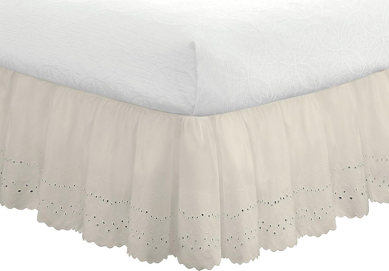 Amazon.com: FRESH IDEAS Bedding Eyelet Ruffled Bedskirt Extra Long