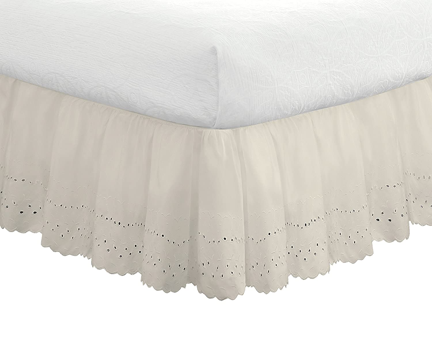 "Eyelet Ruffled Bedskirt – Ruffled Bedding with Gathered Styling –14"" Drop, Twin, White Levinsohn Textile FRE30014WHIT01"