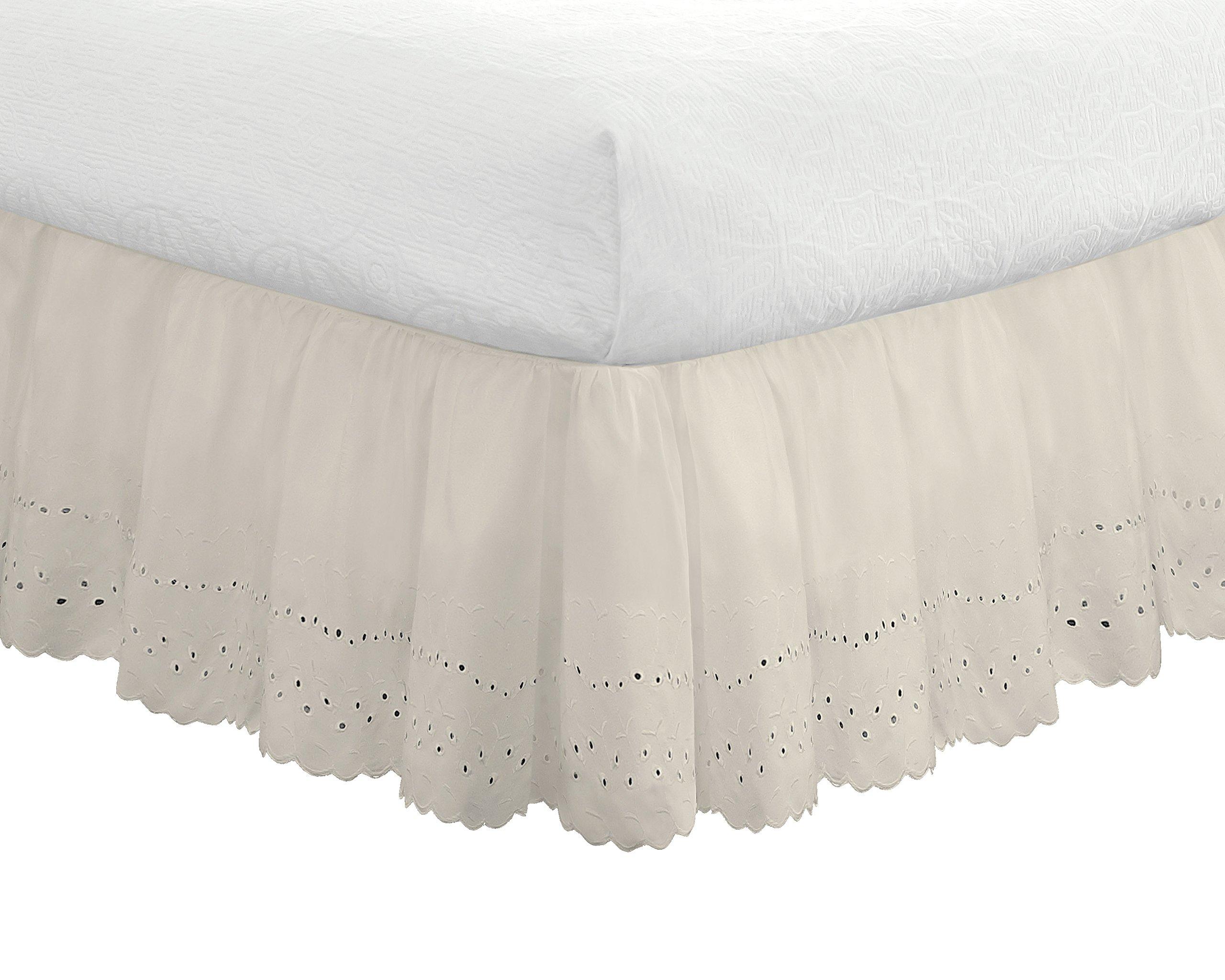 """Fresh Ideas Eyelet Ruffled Bedskirt – Ruffled Bedding with Gathered Styling –14"""" Drop, Full, Bone Ivory"""