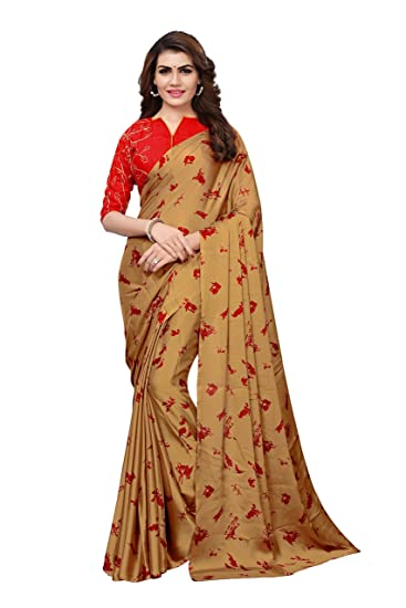 699fac3ca6fb71 Model Madness Beige Georgette Satin Digital Printed Saree with Banglori silk  Embroidered Un-Stitched Blouse
