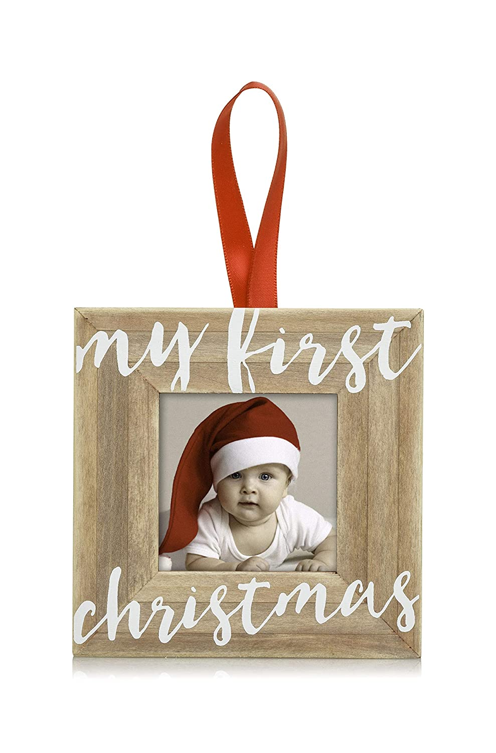 Pearhead Baby's First Christmas Wooden Picture Frame Ornament, Rustic