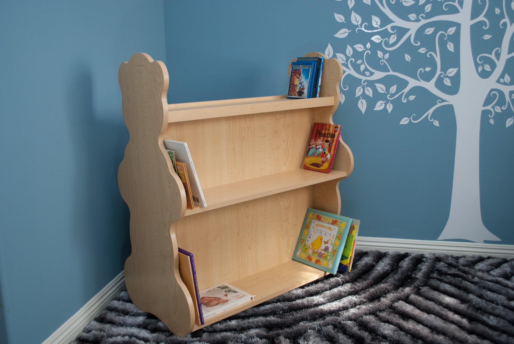 Ace Baby Furniture Bear Mobile Double-Sided Bookcase, Natural Maple