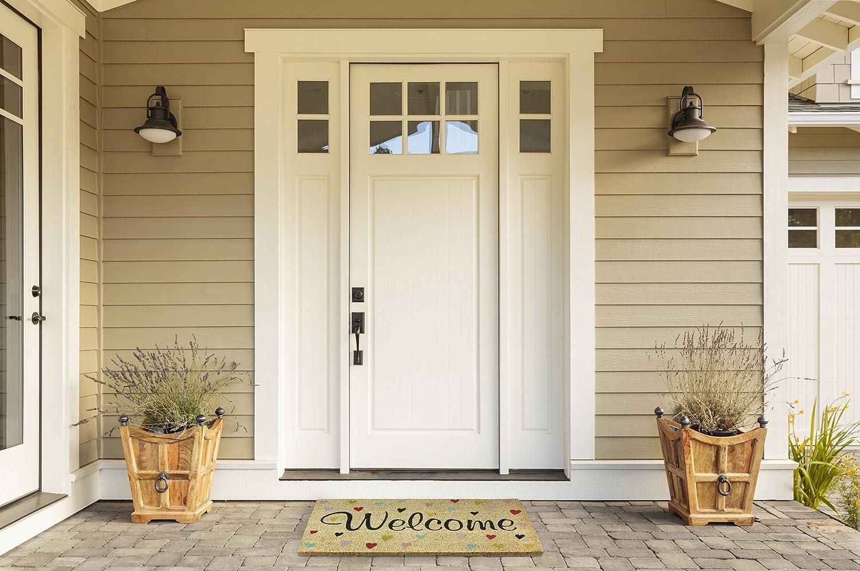 18x30 Front Weather Exterior Doors DII Indoor//Outdoor Natural Coir Easy Clean Rubber Back Entry Way Doormat For Patio Bienvenido