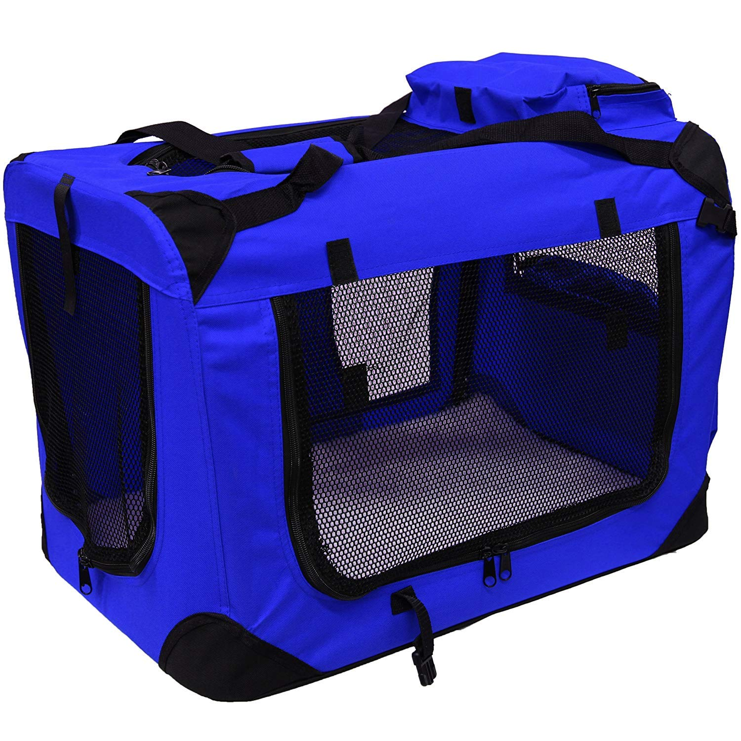 Lightweight Fabric Pet Carrier Crate with Fleece Mat and Food Bag,bluee,M70  52  52CM