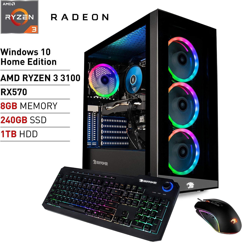 iBUYPOWER Pro Gaming PC Computer Desktop Element MR9700v2 (AMD Ryzen 3 3100 3.6GHz, AMD Radeon RX 570 4GB, 8GB DDR4 RAM, 240GB SSD, 1TB HDD, Wi-Fi Ready, Windows 10 Home)