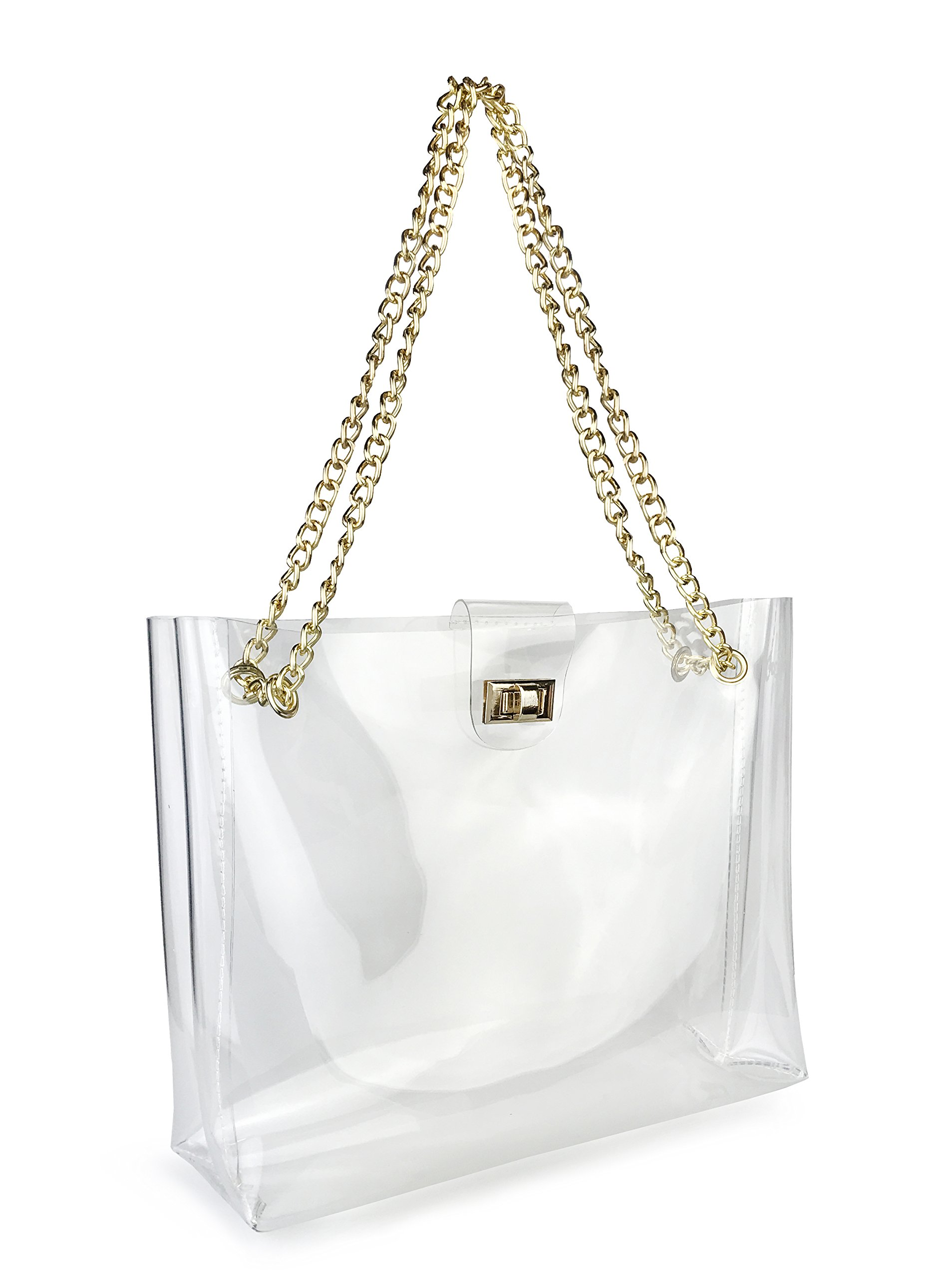 Multifunction Clear Chain Tote with Turn Lock Womens Shoulder Handbag (Clear) by Hoxis (Image #4)