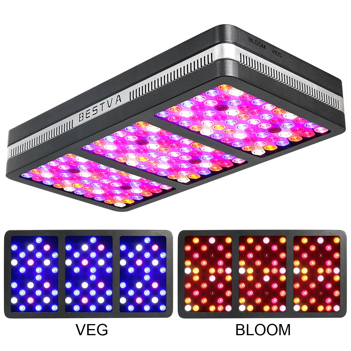 BESTVA Reflector Series 2000W LED Grow Light Full Spectrum Grow Lamp for Hydroponic Indoor Plants Veg and Flower (Elite-2000w) by BESTVA