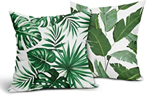 Set of 2 Tropical Outdoor Pillows Palm Leaf Throw Pillow Covers Banana Leaves Cotton Linen Pillow Case Decorative Hawaiian Green Print Pillowcase for Couch Bed Sofa Room Home 18x18 inch