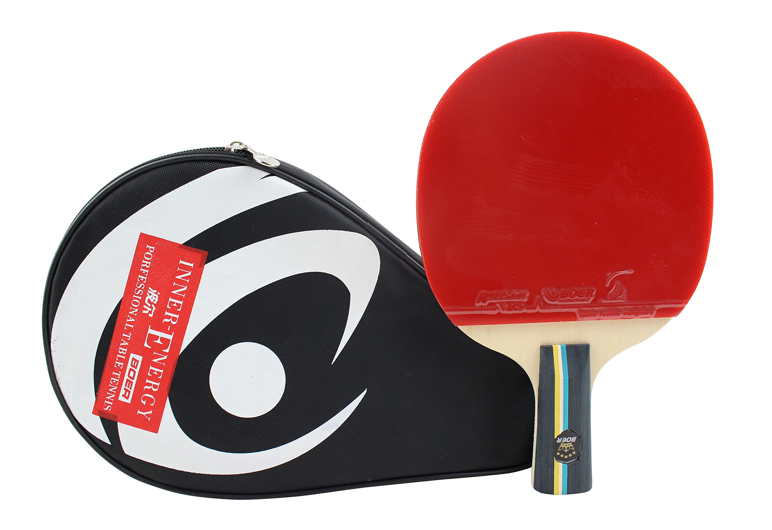Larsuyar Advanced Trainning Table Tennis Paddle with Carrying Bag- 7 ply Wooden Blade with Short Handle (2 Star Penhold Racket)