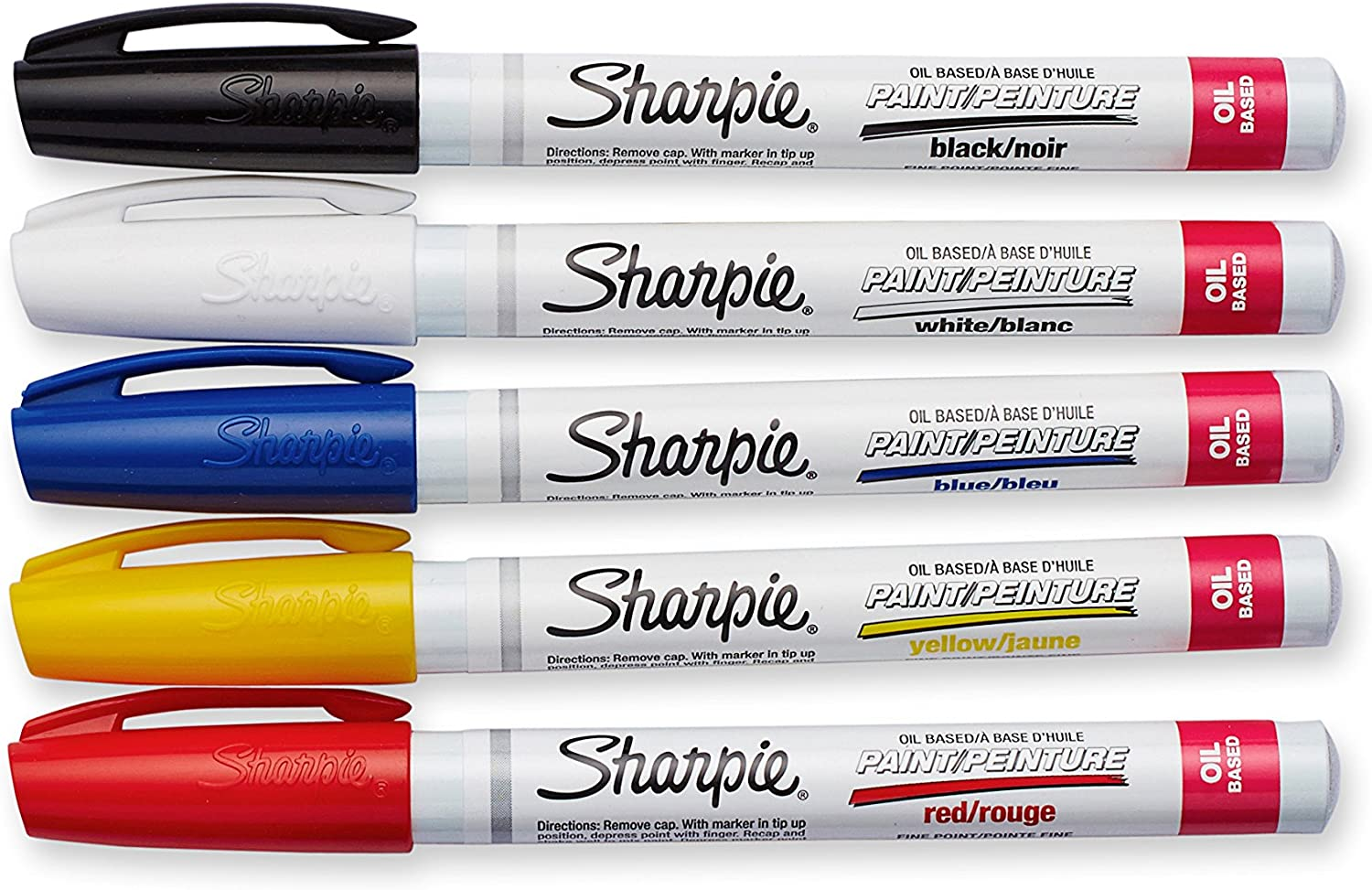 1 Blister Pack with 5 Markers Sharpie 37371PP Oil-Based Paint Markers Pack of 1 Assorted Colors Fine Point Total of 5 Markers