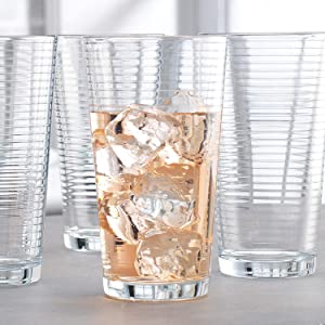 Attractive Set of 10 Heavy Base Ribbed High Ball Drinking Glasses 17 Oz Home & Party Glassware Set- Durable Drinking Glasses