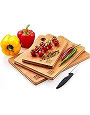 LARHN Hochwertige Schneidebretter Holz - 3 Extra Dickes Bambus Schneidebrett Set - FSC und LFGB Zertifiziert - Verwenden Sie als Küchen-bretter, Frühstücksbrettchen, Brotbretter und Servierbretter