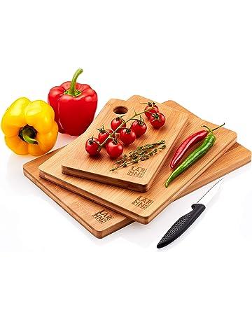Tablas De Cortar Cocina en Madera Premium Extra-Gruesas | Juego de 3 Piezas en