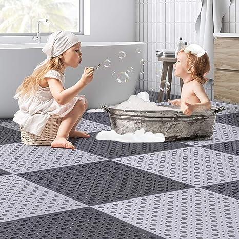 Non-Slip Bath Shower Floor Mat DIY Cut Anti Slip Bathroom Mats with Drain Holes