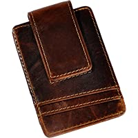 Le'aokuu Mens Genuine Leather Cowhide Magnet Money Clip Credit Case Case Holder Slim Wallet