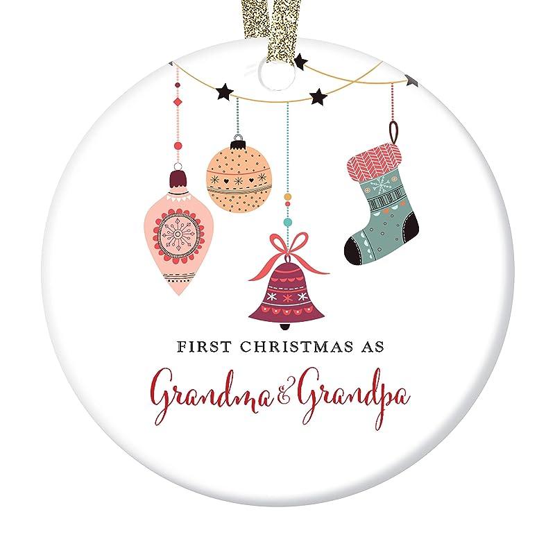 C019 New Grandma grandparent First Christmas As Grandma Ornament Green Tan Plaid