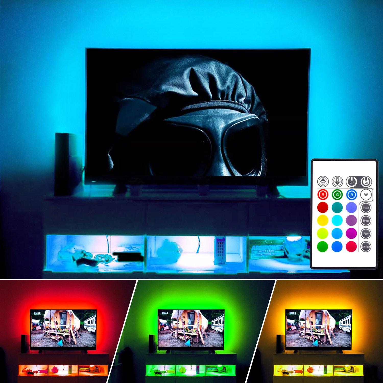 LED Strips Light, Maylit(tm) Neon Accent LED Lights Strips For 48'' to 50'' TV Lights, USB LED TV Backlight, RGB 16 Color 24keys Remote LED Bias lighting (48''-50''four side)