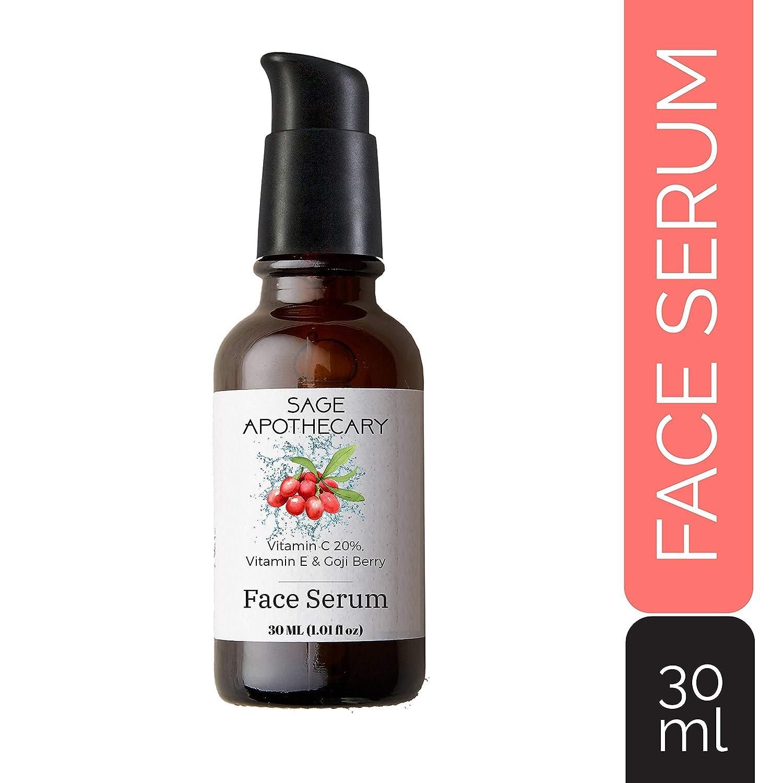 Sage Face Serum : Anti-Aging Vitamin C 20% + Vitamin E,Goji Berry,Hyaluronic acid .Anti Acne, Anti Wrinkle, Skin Fairness & Brightening. 30ML