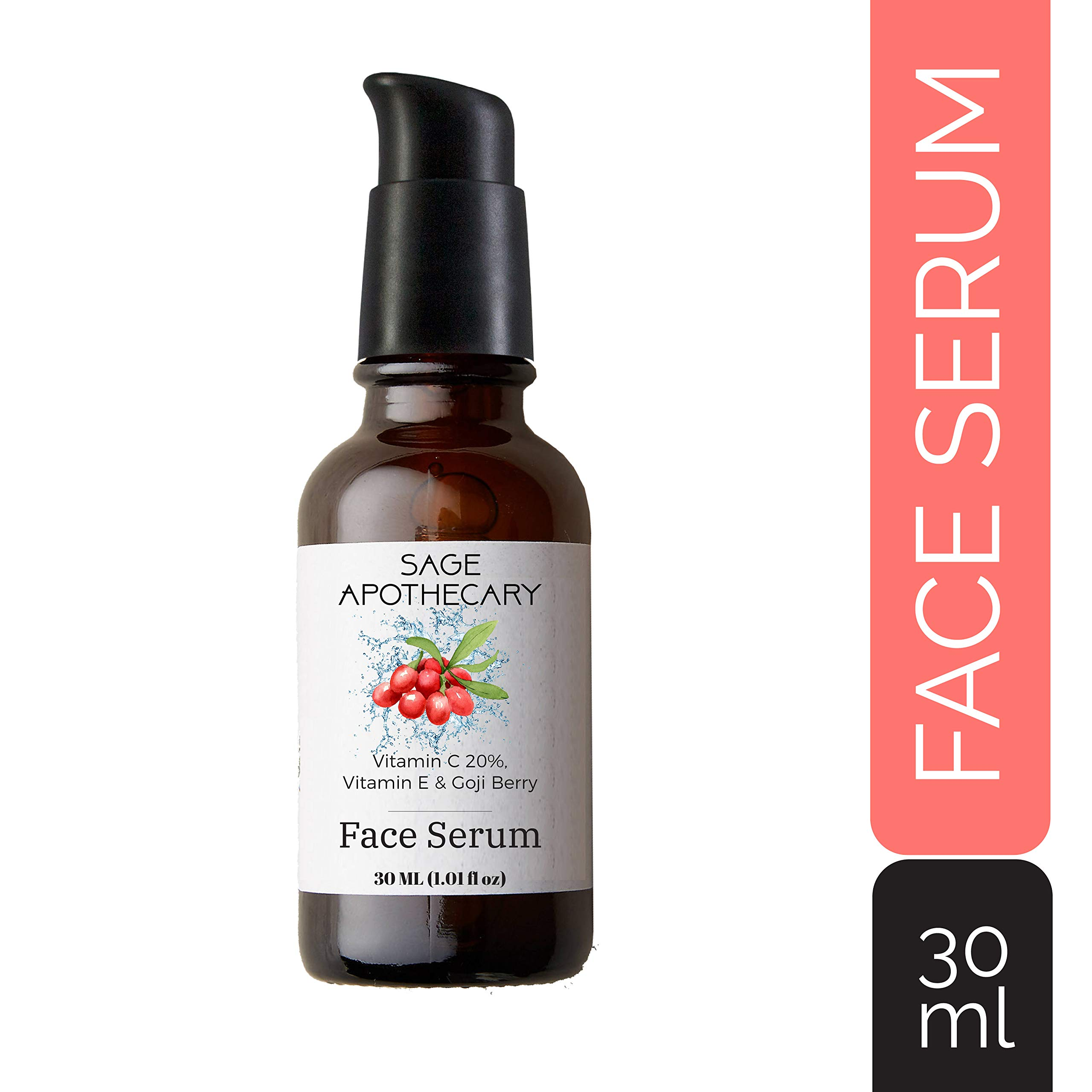 Sage Apothecary Vitamin C 20%, Vitamin E & Goji Berry Face Serum with Hyaluronic acid, 30ML product image