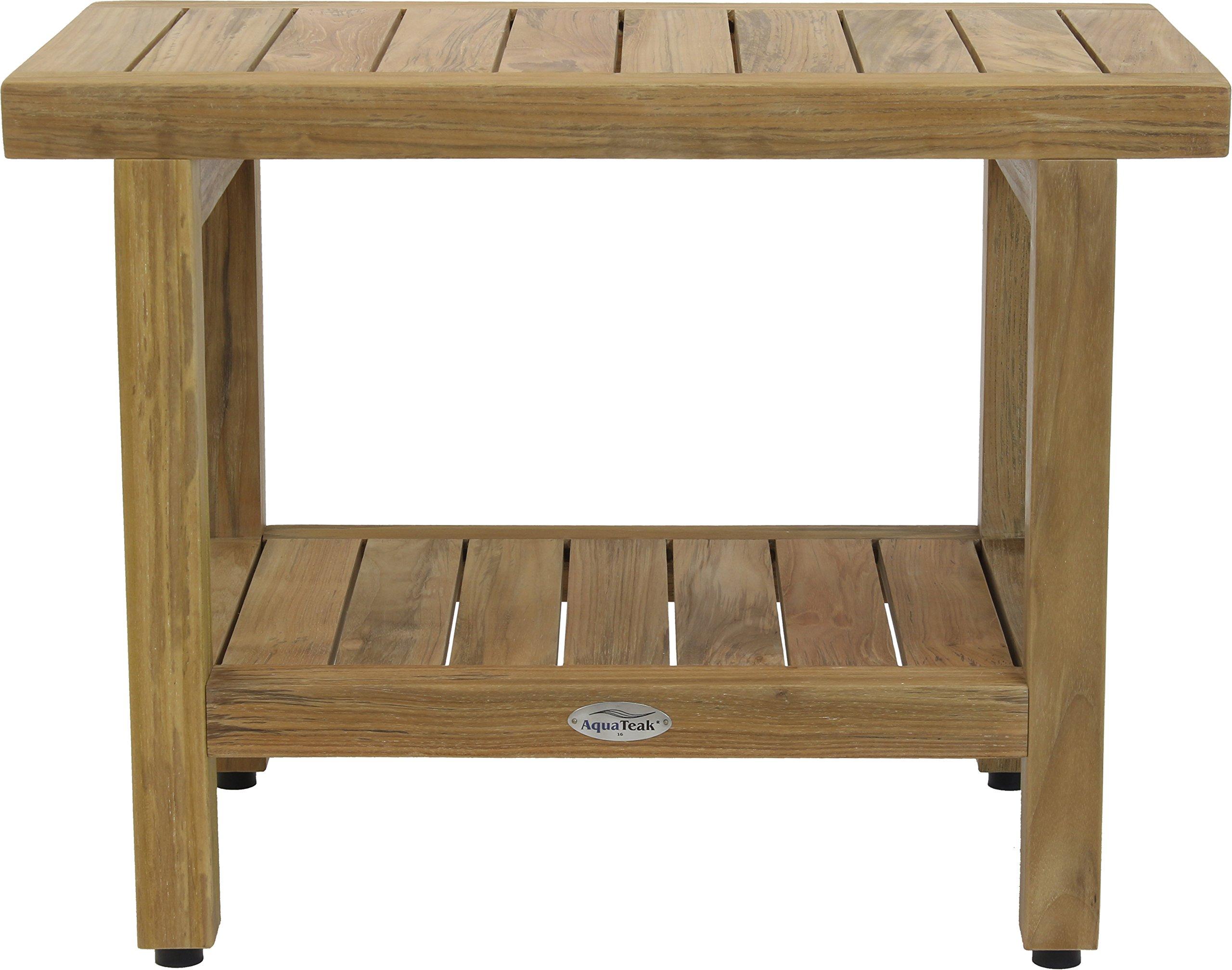 24'' Spa Natural Teak Shower Bench with Shelf by AquaTeak (Image #7)