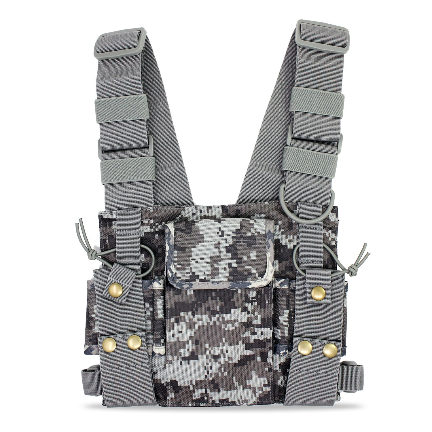 Abc Goodefg Radio Chest Harness Chest Front Pack Pouch Holster Vest Rig For Two Way Radio Walkie Talkie(Rescue Essentials) (Camouflage) by Abc Goodefg