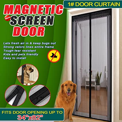 Magnetic Instant Screen Door Mesh Curtain Close Automatically Keeps
