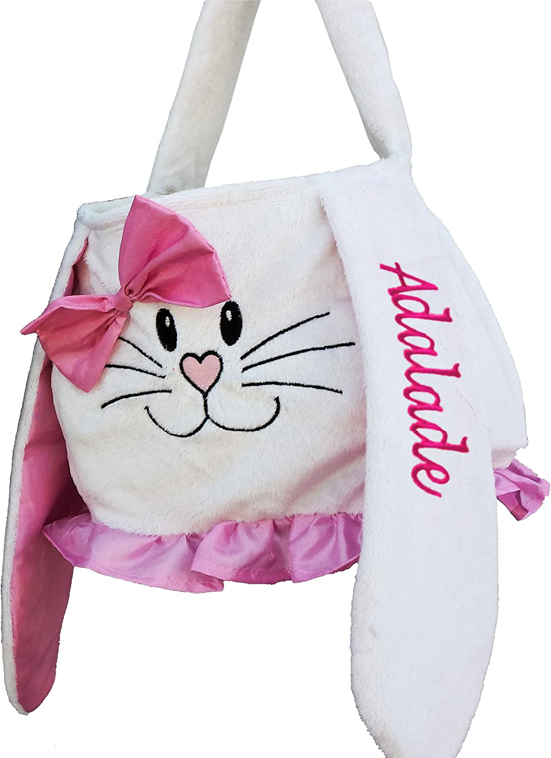 Personalized Easter Basket Pink White Plush Easter Basket Tote Bunny Bucket Embroidered with Kids Name