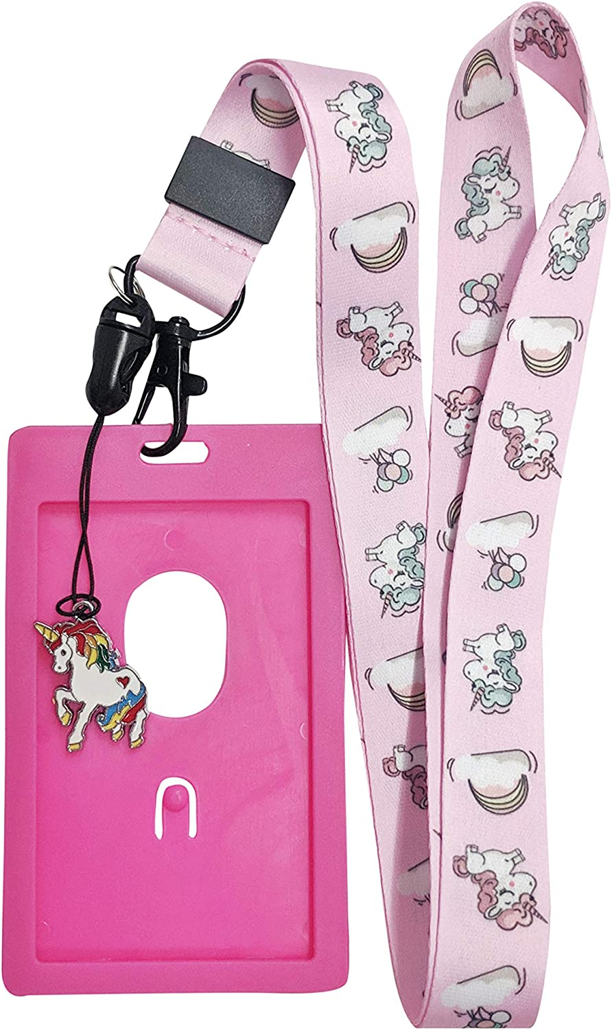 Cute Unicorn Lanyard w/ID Badge Holder and Charm - Various Styles (Pink)