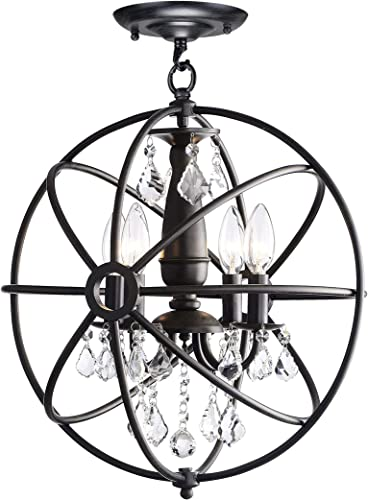 Benita Antique Black 4-Light Iron Orb Flush Mount Crystal Chandelier