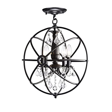 Benita Antique Black 4-Light Iron Orb Flush Mount Crystal Chandelier